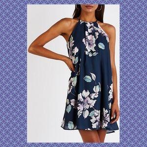 Blue Purple Floral Halter Mini Shift Dress NWT M